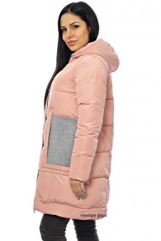 Зимняя куртка бледно-розовая