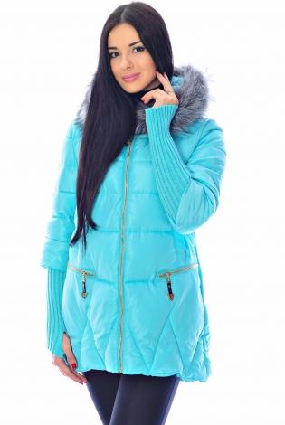 Зимняя куртка бирюзовая