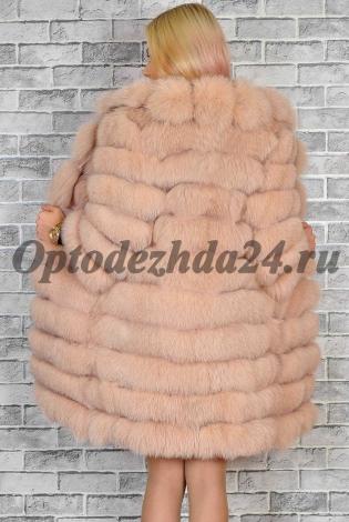 Шуба из меха песца розовая пудра с анг/воротником