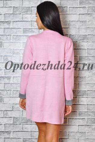 Кардиган розовый с серым