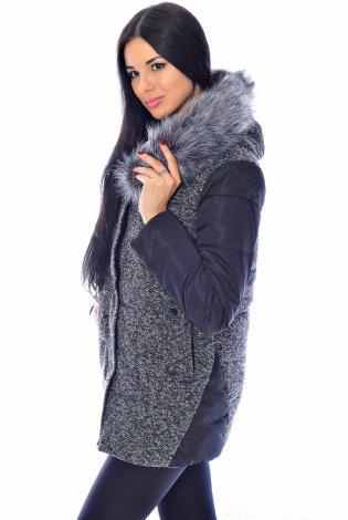 Зимняя куртка серо-черная