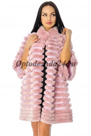 Жакет из меха кролика-рекса розовый
