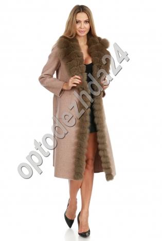 Пальто кашемировое с песцом
