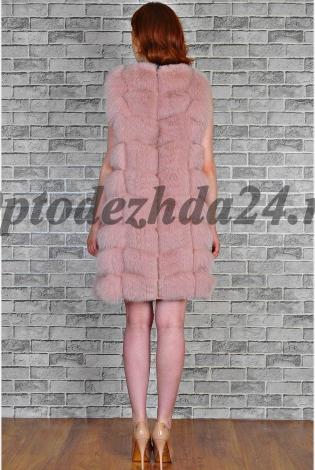 Жилет из меха песца розовая пудра