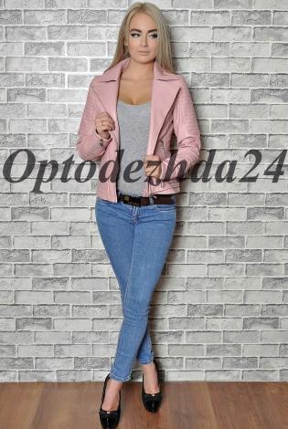 Куртка из экокожи розовый