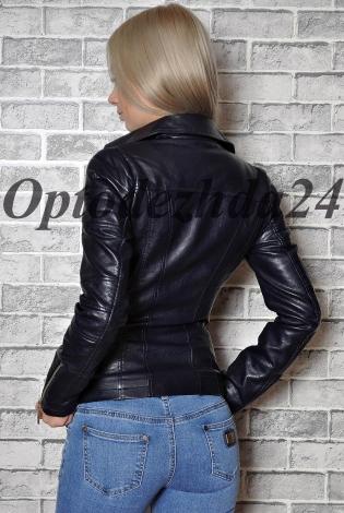 Куртка из экокожи темно-синий