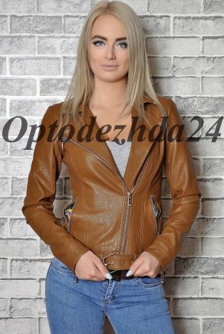 Куртка из экокожи коричневый