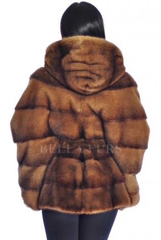 Шуба из меха норки коричневая