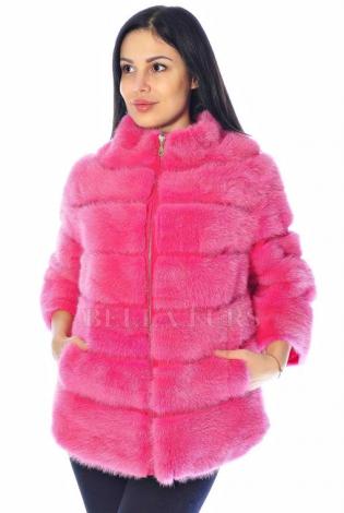 Шуба из меха норки розовая