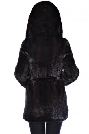 Шуба из меха норки махагон