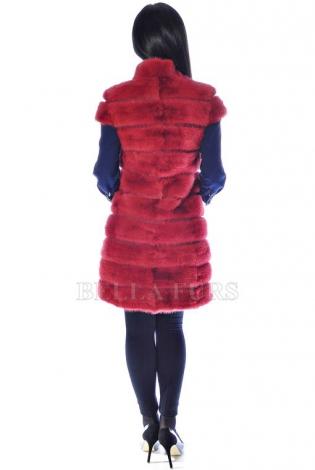 Жилет из меха норки красно-бордовый