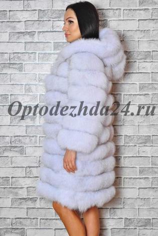 Шуба из меха песца колотый лед с капюшоном