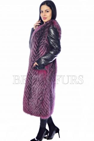 Жилет из меха чернобурки с рукавами розовый