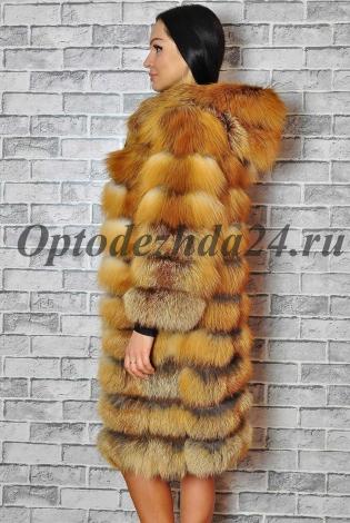 Шуба из меха лисы рыжая с капюшоном