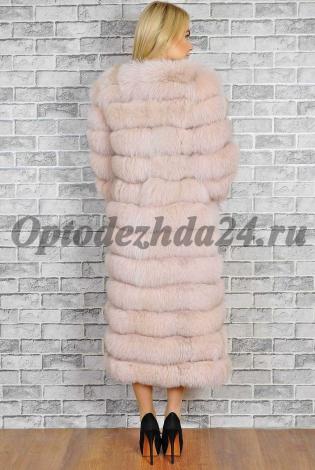 Шуба из меха песца розовая пудра