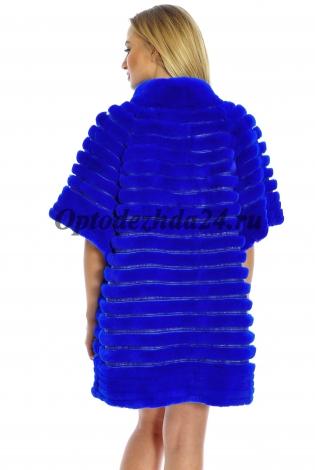 Жакет из меха кролика-рекса синяя