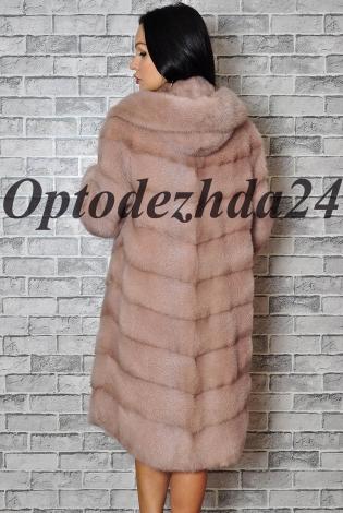 Шуба из Меха Норки Розовый-пудра