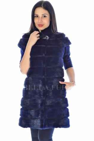 Жилет из меха норки темно-синий