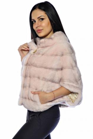Шуба из меха норки розовая пудра