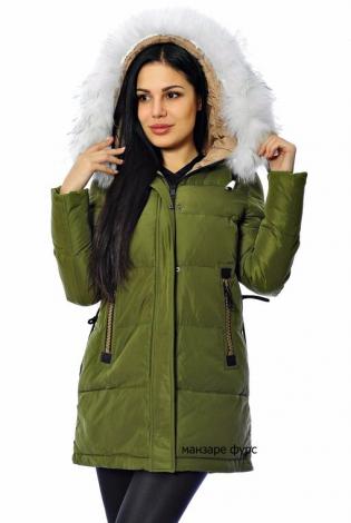 Зимняя куртка платиновая зеленая