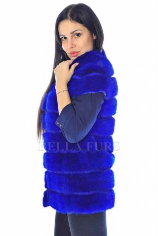 Жилет из меха норки синий
