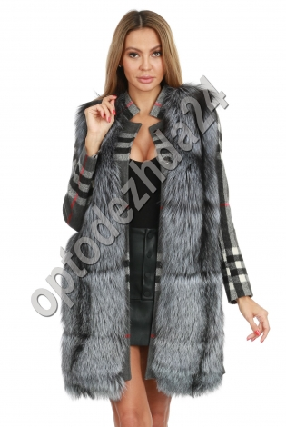 Кашемировое пальто с чернобуркой ворот стойка