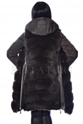 Жилет из меха песца с рукавами темно-коричневый