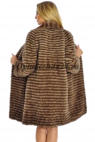 Жакет из меха норки коричнево-черный