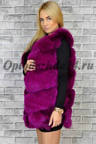 Жилет из меха песца фуксия - фиолетовая