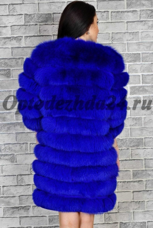 Шуба из песца ярко-синяя