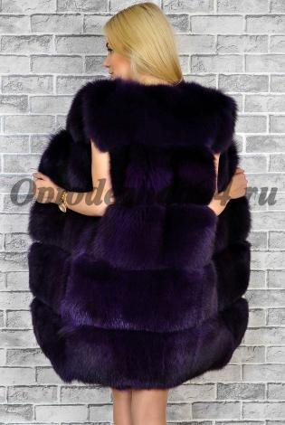 Жилет из меха песца темно-фиолетовый