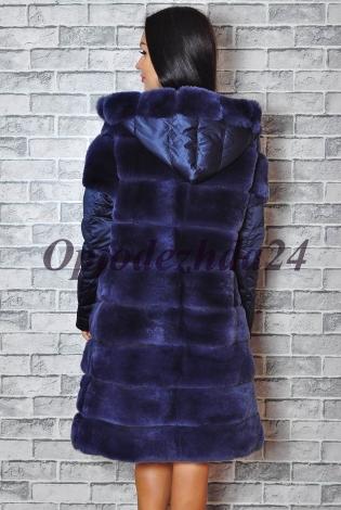 Жилет с рукавами из меха кролика рекса синий