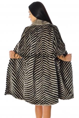 Жакет из меха норки бежево-черный