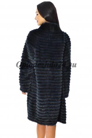 Жакет из меха норки темно-синий