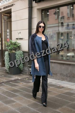 Пальто с норковыми рукавами